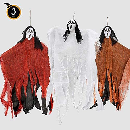 ChenYi Halloween Party Indoor Outdoor Dekoration Kostüm Set 3pcs 33in Hanging Ghost (Reapers) In DREI Farben Haunted House Decor - Gespenstische Geist Ghost Kostüm