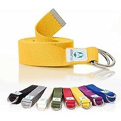#DoYourYoga Correa para Yoga mandira/Yoga-Belt cinturón 100% de algodón con Esquinas de metal-Anillo-cierre/250 x 3,8 cm/Disponible en Diferentes Coloures Amarillo