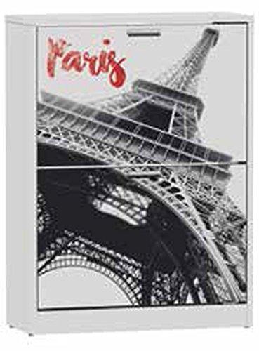 Commode meuble à chaussures de 2 portes laqué blanc motif Tour Eiffel, 600 x 242 x 820 mm -PEGANE-
