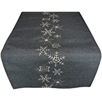 Table-Runner Christmas grey silver 40 x 140 cm snowflakes - table-decorations christmas