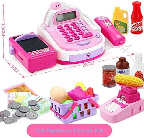 ZGYQGOO 47 stücke Kinder Kasse Pretend Play supermarkt Shop bis Spielzeug mit rechner, arbeits Scanner, Kreditkarte, Spielen Lebensmittel, Geld, elektronische Waage und