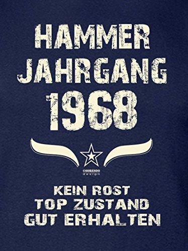 Geschenk zum 49. Geburtstag :-: Geschenkidee kurzarm Geburtstags-Sprüche-T-Shirt mit Jahreszahl :-: Hammer Jahrgang 1968 :-: Geburtstagsgeschenk für Männer :-: Farbe: navy-blau Navy-Blau