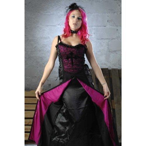 Kostüm Herrin Dunkle - CATCHER Edles Halloween - / Gothickleid in schwarz - lila Gr. L = 40 - 42