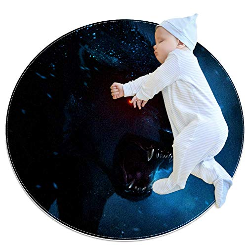 Wetia Hungriger Wolf Runder Teppich für Kinder rutschfeste Außenteppiche, superweich für Wohnzimmer, Kinderzimmer, Babyzimmer, Balkon, Kreis 100x100cm -