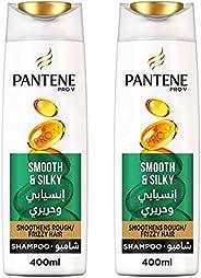 Pantene Pro-V Smooth & Silky Shampoo  2 x 400 ml Dual