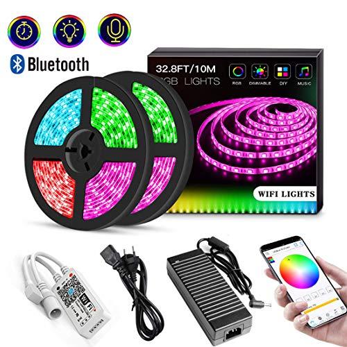 LED Streifen Kit, 10m, YOMYM Licht LED Stripes 300 LEDs (SMD 5050) WiFi LED Band Lichterkette Bänder Wasserdichte mit 24 Tasten Fernbedienung Sync mit Musik für Deko Party [Energieklasse A+]