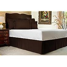 """Comodidad beddings 1pieza cubre canapé 24""""drop Longitud de 600hilos Euro doble IKEA tamaño 100% algodón egipcio diseño de rayas, marrón, Euro doble IKEA"""