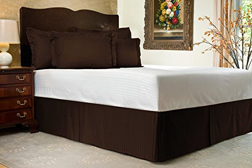 Komfort Bettwäsche 600tc 1Bettvolant 48,3cm Drop Länge UK Doppelbett 100% ägyptische Baumwolle Stripe, braun, UK Double size (Zoll 19 Bedskirt)