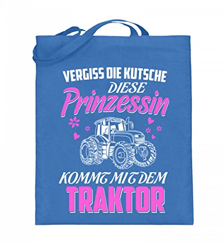 Hochwertiger Jutebeutel (mit langen Henkeln) - Landwirtschaft Shirt · Diese Prinzessin kommt mit dem Traktor · Geschenk mit Motiv für Landwirt Frauen Blau