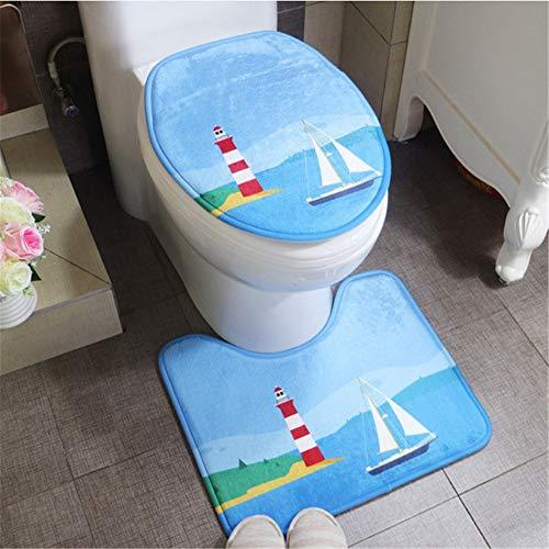 hysxm 2 Teile/Satz Günstige Rutschfeste Bad Teppiche Teppich Set Toilettendeckel Sea World Design Sockel Weichen Badematten Badezimmer Teppich, Segeln Leuchtturm