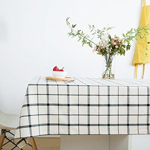 Modèle de boîte rouge bleu blanc en coton blanc rectangulaire nappe épaisse-nappe durable résistante-E 140x220cm(55x87inch)