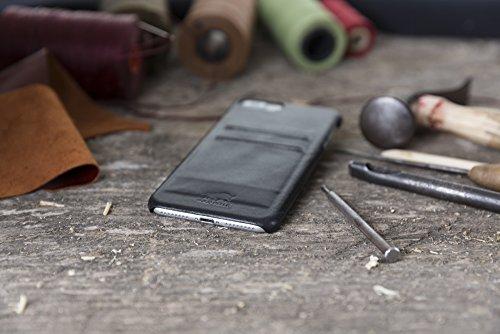 "Solo Pelle iPhone 7 Plus / 8 Plus Case Lederhülle Ledertasche Backcover "" Slimfit "" in Vintage Braun Schwarz"