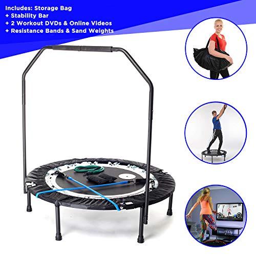 Rebounder maximus pro - mini trampolino professionale pieghevole 2 dvd con 7 video d'allenamenti - inglese borsa pesi di sabbia, corde elastiche di resistenza
