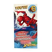 Age 6 Birthday Card - Spiderman Birthday Card with Spiderman Birthday Badge, 6th Birthday, Ideal Gift Card for Kids - Marvel
