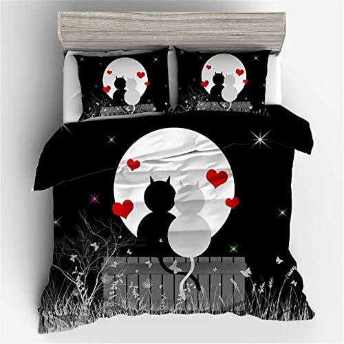SHJIA Home Bettwäsche Persönlichkeit Mode Serie Muster Bettbezug Set Zwei Personen Anzug D 225x225 cm (2-knopf-seersucker-anzug)
