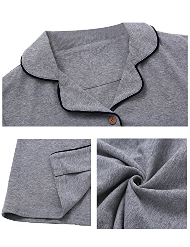 Menschwear Damen Baumwolle Langarm Nachtwäsche Leichte Sport Pyjamas Grau