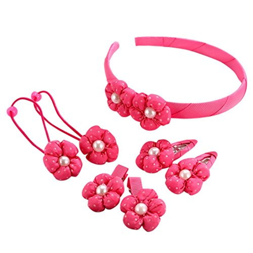 Baby Haarnadel, erthome 7pcs Kids Haarnadel Baby Mädchen Blumenmotive Haarspange Set ❤️ Baby Haar Clip (Rot) - Perlen Kappe Ärmel Cap
