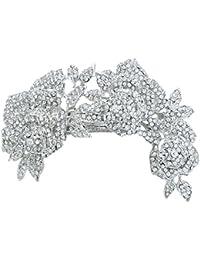 TENYE Pasador para el pelo con diseño de rosa romántica de cristal austriaco, color plateado