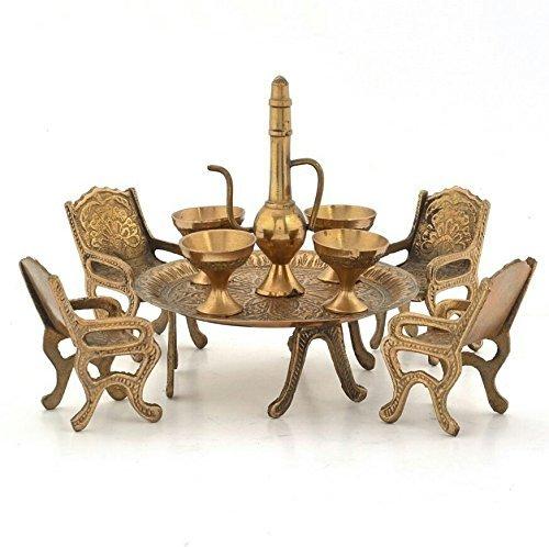 The Hue Cottage tabla maharaja establecer artisanal joya de latón comedor decoración figurilla artículos de regalo