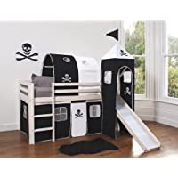Noa and Nani - Midsleeper Cabin Bed with Slide and Pirate Tent, Tunnel and Tower | Mattress Included - (Whitewashed Pine)