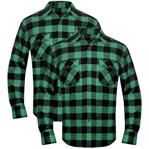 Arichtop 2 x Herren Arbeitshemd Holzfäller Flanellhemd kariert grün-schwarz L -