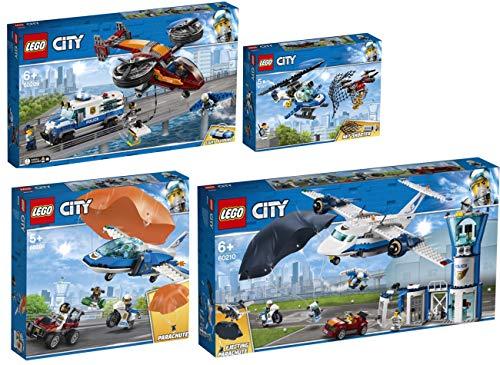Steinchenwelt Lego® City 4er Set: 60207 Polizei Drohnenjagd + 60208 Polizei Flucht mit dem Fallschirm + 60209 Polizei Diamantenraub + 60210 Polizei Fliegerstützpunkt
