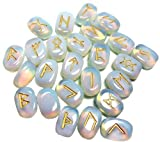 Whitewhale Opalite Rune Stones Tumbled Engraved Lettering Crystal Set Healing Chakra Reiki