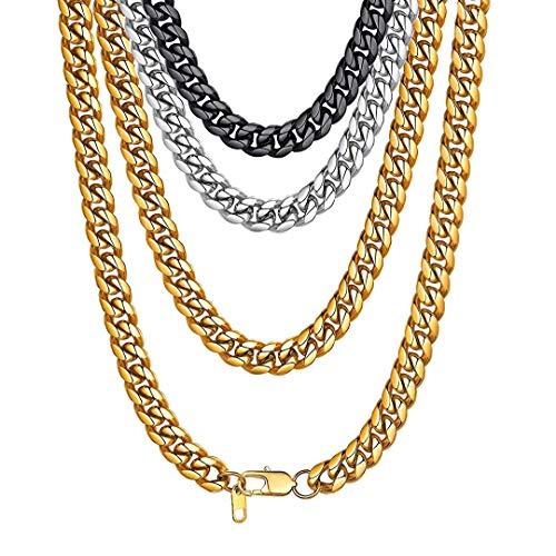 ChainsHouse 316L Edelstahl 10MM Breit 22 inch Halskette in Silberfarbe Hip pop Kette Herren Schmuck für Hip pop Fans/Punk Rocker/Biker (22 Zoll Halskette)