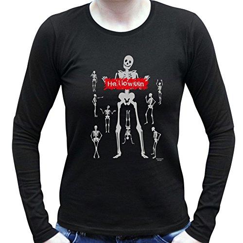 Cooles Damen Halloween-Langarm-Fun-Shirt als Geschenke-Idee Motiv: Halloween Skulls Farbe: schwarz Schwarz