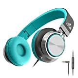 Artix Auriculares Plegables con Micrófono, Auriculares estéreo NRGSound CL750 compactos en la Oreja, Ideales para niños/Adolescentes/Adultos (Turquesa)