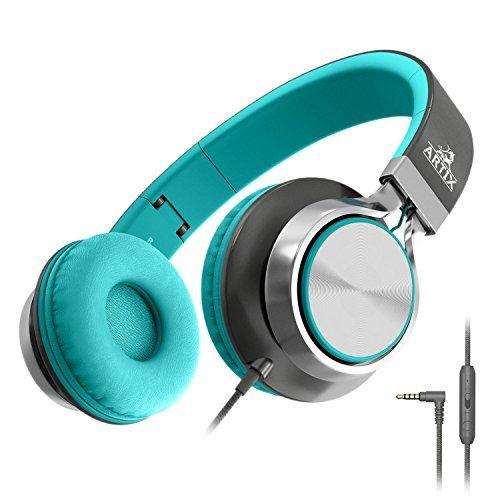 Artix Casque Pliable avec Micro, Écouteurs compacts stéréo NRGSound CL750 Parfait pour Les Enfants/Ados/Adultes (Turquoise)