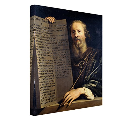 Leinwandbild P. de Champaigne - Mose hält Tafel mit Zehn Geboten 4:3 120 x 90cm