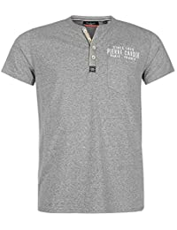 Pierre Cardin Mens Short Sleeves MARL Henley T-Shirt With Embroidery Over Pocket