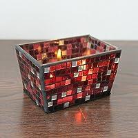 Bluelover Handcrafted Piazza mosaico vetro candeliere candela titolare candelabri Flowerpot casa Wedding Decor-rosso