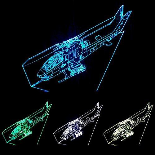 JAYLONG 3D Visuelle Kreative LED Lampe 3 Watt für Kinder Nachtlichter Hubschrauber 7 Farben Touch-schalter Steuerung Kunst Lichter für Nachtlicht Baby Kinder Erwachsene für Baby Schlafzimmer Kindergarten Geburtstagsgeschenk (Hubschrauber-party-dekor)