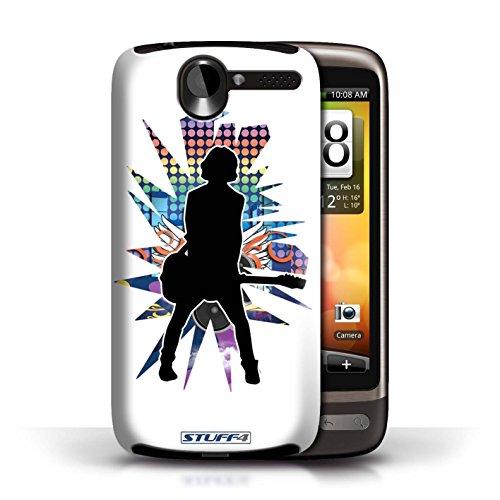 Kobalt® Imprimé Etui / Coque pour HTC Desire G7 / Saut Blanc conception / Série Rock Star Pose émotion Blanc