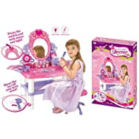 ZUMZ NEW KIDS GIRLS PRINCESS DURABLE DRESSING VANITY TABLE MIRROR PLAYSET PRETEND ROLE PLAY SET GLAMOUR BEAUTY MAKEUP LIGHT & SOUND MUSIC TOYS GIFT