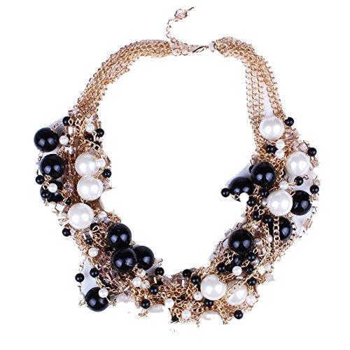 Palla Perla Rotonda Delle Donne Eleganti Perline Oro Concatenato Collana Choker Collane