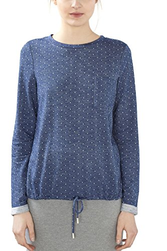 edc by ESPRIT Damen Sweatshirt 027CC1J005 Blau (Navy 400), 40 (Herstellergröße: L)