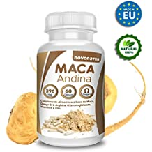 Maca andina negra con Omega 3, L-Arginina Alfa-cetoglutarato, Vitaminas y Zinc, 60 comprimidos. Única Maca con Omega 3 del mercado. NOVONATUR.