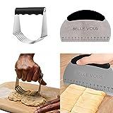 Acciaio inox frullatore per pasta e pasticceria Cutter, Kitchen Craft – Pasticceria frullatore con lame, Panca Dough raschietto multiuso con guida di misurazione di Belle Vous