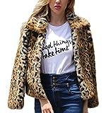 Felljacke Damen Herbst Winter Vintage Leopard Pelzjacke Elegante Jungen Chic Revers Langarm Fashion Warm Verdicken Kunstpelz Kurzmantel Outwear (Color : Brown, Size : S)