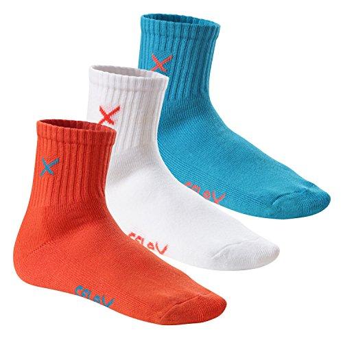 6 Paar CFLEX LIFESTYLE Unisex Short Crew Socks Blue Coral Mix-43-46 (Crew Socken Tennis Sportliche)