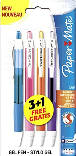 paper-mate-stylos-gel-rtractable-pointe-moyenne-assortiment-fun-lot-de-4