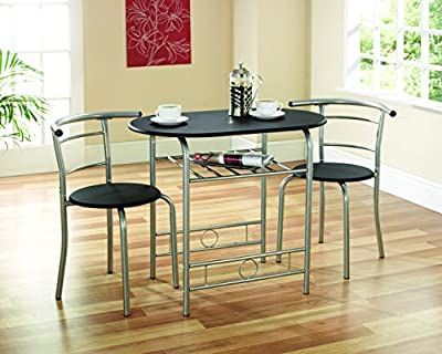 Greenhurst Compact Dining Set with Black Laminated MDF Top and Silver Powder Coated Steel Frame