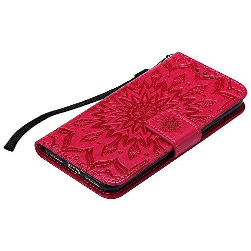 Pour Apple IPhone 7 Case, Embossing Sunflower Magnetic Pattern Premium Soft PU Leather Wallet Stand Housse avec lanière et porte-cartes et embouts de cartes ( Color : Brown ) Red