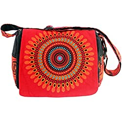 Modas Bagdag Bolso Artesanal de Hombro para Mujer Estampados 37x27cm (GT-8 rojo)
