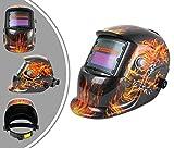Leogreen - Casco de Soldadura Ajustable, Casco de Soldadura Solar, Patrón de fuego, Material: Plástico (PP, PE), Estado oscuro: DIN9-13