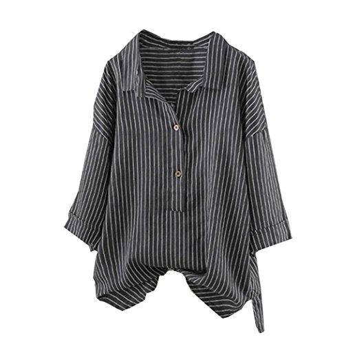 Damen Blusen Ronamick Frau Taste hoch Pullover Gestreifte Top T-Shirt Plus Size Tunika Bluse (Schwarz, L)