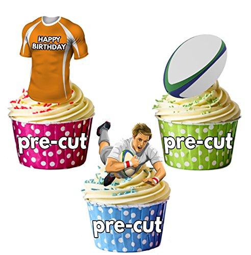 AK Giftshop vorgeschnittene Cupcake-Dekorationen Happy Birthday Rugby Party Pack – essbare Cupcake-Dekorationen The Cheetahs Farben (12 ()